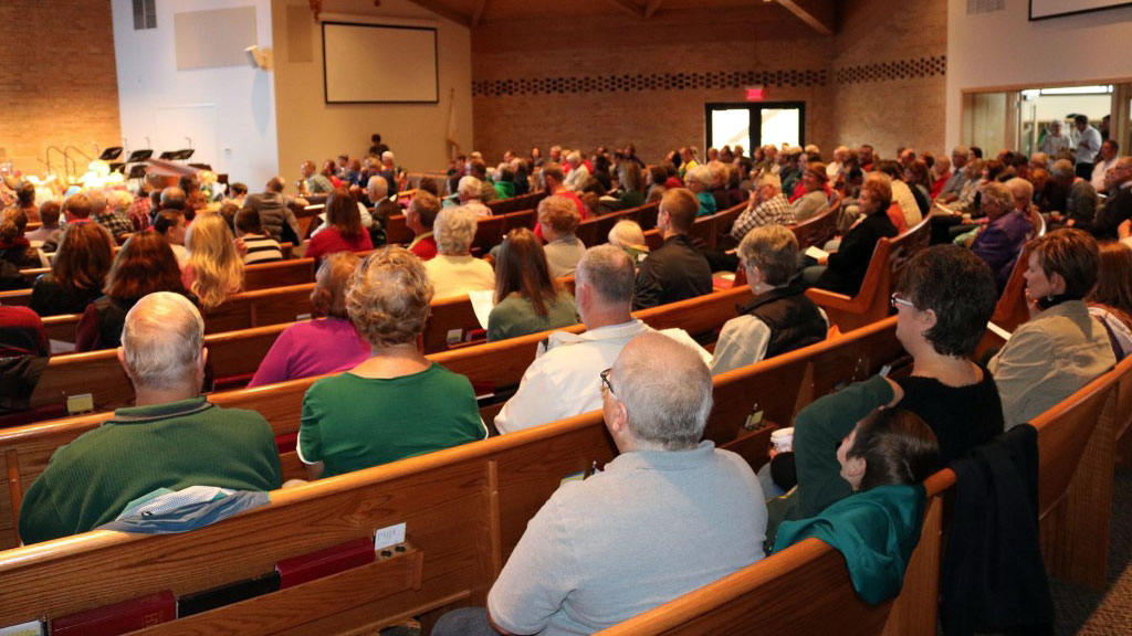 People attending the Sun Prairie United Methodist Church in Sun Prairie, WI