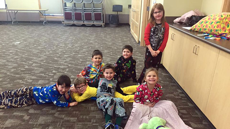 Children on the floor awaiting religious instruction at the Sun Prairie United Methodist Church (Sun Prairie, WI)