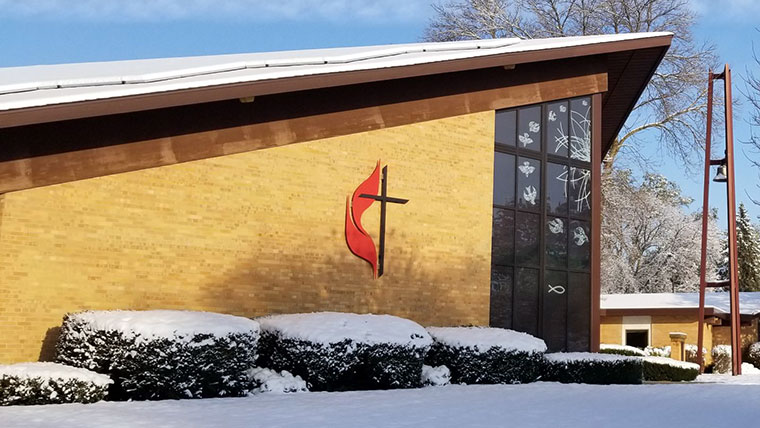 Exterior of the Sun Prairie United Methodist Church in winter