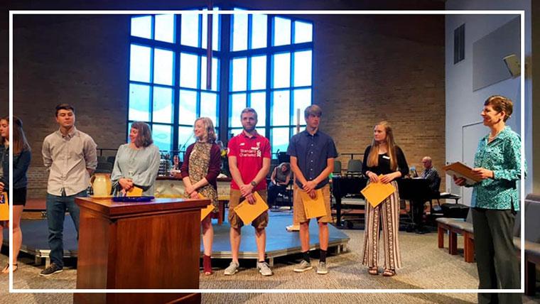High school seniors receiving scholarships at the Sun Prairie United Methodist Church (Sun Prairie, WI)